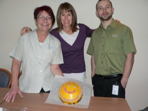 Celebrating with a smiley cake